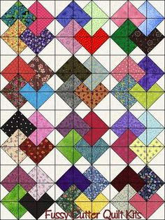 Scrappy Patchwork Fabric Card Trick Pattern Fast Easy to Make Ready to Sew Pre-Cut Quilt Blocks Top Kit