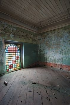 beautiful...love the ceiling, worn walls, muted colors, and that window! i wonder what corner of the world this place exists in