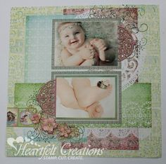Cuddly Baby Layout by Emma Lou Beechy.... cute idea with parents wedding rings on her toe!