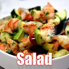 Shrimp and Avocado Ceviche Salad (Keto and Low-Carb) is the best easy recipe for a summer salad filled with zesty lime, cilantro, tomato, cucumbers, and more. This healthy dish has no mayo and is ready in minutes. Serve with pan-seared or grilled shrimp. Shrimp Avocado Salad, Shrimp Salad Recipes, Seafood Salad, Salad Recipes Video, Avocado Recipes, Healthy Salad Recipes, Seafood Recipes, Keto Recipes, Vegetarian Recipes