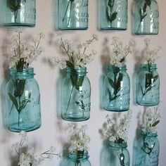 turquoise mason jars and white flowers