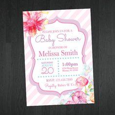 Flower Baby Shower Invitation - Flower Baby Shower - Baby Shower Ideas - Invitations by Memorable Imprints