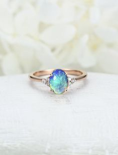 Opal engagement ring Rose gold engagement ring blue opal Diamond ring vintage Unique wedding women Bridal Jewelry Anniversary gift for women Roségold-Verlobungsring Einzigartiger Verlobungsring Diamant-Cluster-Ring. Diamond Cluster Engagement Ring, Gold Engagement Rings, Diamond Wedding Bands, Cluster Ring, Engagement Jewelry, Opal Wedding Rings, Oval Engagement, Hippie Wedding Ring, Wedding Engagement