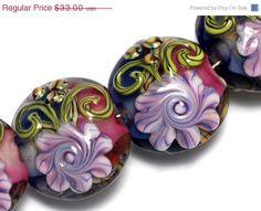 ON SALE 50% OFF Four Grace's Garden Lentil Beads -10108312 Handmade Glass Lampwork Bead by gracebeads on Etsy https://www.etsy.com/listing/156279096/on-sale-50-off-four-graces-garden-lentil