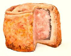 Pork Pie - watercolour