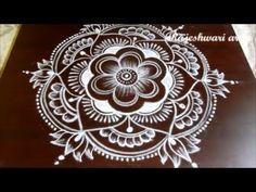 New Year Rangoli Design 2018 * Sankranthi Lotus Muggulu Designs With Dots * Lotus Pongal Kolam - YouTube