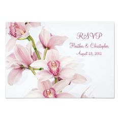 Pink Cymbidium Orchid Wedding Reply RSVP Card Invitations