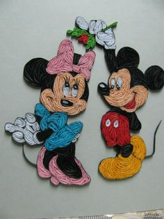 Micky & Minny Mouse www.facebook.com/asha.hmc Paper Quilling Tutorial, Paper Quilling Cards, Paper Quilling Patterns, Quilled Paper Art, Quilling Dolls, Quilling Craft, Quilling Flowers, Quilling Ideas, Arte Linear