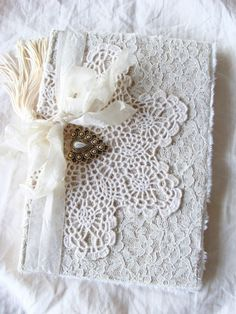 Vintage Doily and Lace Journal Notebook Diary Wedding Memory Book Guestbook Giftbook Mother of Bride Bridesmaid Baby Gratitude Journal
