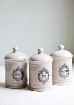 English Charm Canister Set- But I would probably use it for flour, sugar, and.... something else. LOVE these.