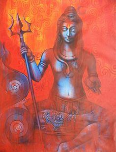 "ENLIGHTENMENT WITH SHIVA Artist : Madhusudan Size(h"" x w"") : 52x42"