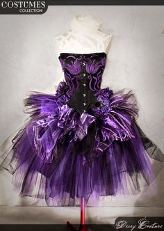PURPLE GOTHIC costume prom dress, with black victorian corset and purple tutu skirt, velvet flowers and organza