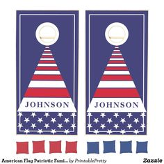 American Flag Patriotic Family Name Triangle Cornhole Set Custom Cornhole Boards, Cornhole Set, Cross Beam, Johnson And Johnson, Red Bags, Epic Games, School Colors, Monogram Initials, Fourth Of July