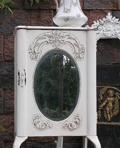 Shabby OVAL MIRROR Chic Music LINEN Cabinet Cupboard. $525.00, via Etsy.