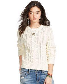 Cable-Knit Crewneck Sweater - Denim & Supply  Scoop, Crew & Boatnecks - RalphLauren.com