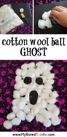 halloween crafts for toddlers Cotton wool ball ghost craft for toddlers: Halloween Activities For Toddlers, Fun Halloween Games, Toddler Halloween, Halloween Crafts For Kids, Toddler Activities, Classroom Activities, Halloween Week, Art Activities, Halloween Party