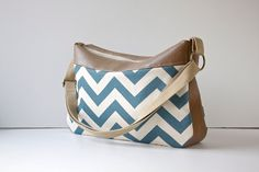 Cross Body Bag in Blue and Ivory Chevron Canvas with by bluecalla Top Band, Everyday Bag, Medium Brown, Summer Colors, Brass Hardware, Cross Body, Diaper Bag, Chevron, Crossbody Bag