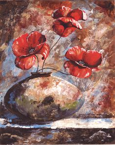 Poppy Bouquet - 8X10 Mixed Media on canvas board by Jacqueline Brown