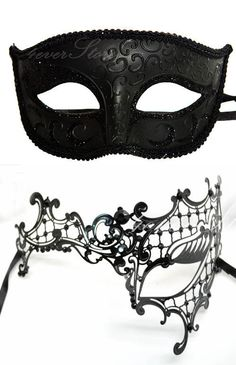 Masquerade Mask, Couples Set, His & Hers Classic Phantom Masquerade Masks, Laser Cut Masquerade Mask with Rhinestones, [Opposite Opening]