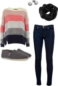 Love sweaters... and the stripes! And the coral :)