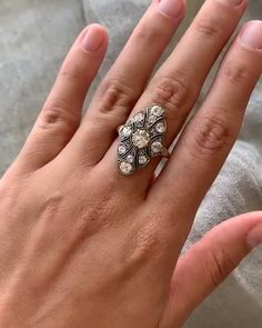 Stunning vintage engagement ring curated by Sofia Kaman. Glittering antique diamonds and a low profile, perfect for the vintage romantic bride.