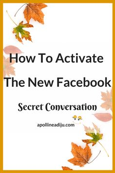 """How To Activate The New Facebook """"Secret Conversation"""" - Simple Social By Apolline Adiju"""
