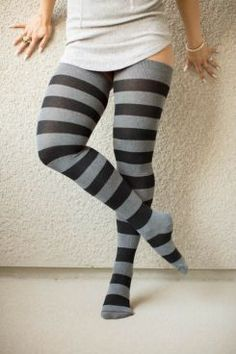 Extraordinarily Longer Striped Thigh High Socks Charcoal and black extra long wide striped thigh high socks worn with a long grey top on a plus… Comfy Socks, Sexy Socks, Cute Socks, Striped Thigh High Socks, Striped Socks, Stockings Lingerie, Sexy Stockings, High Socks Outfits, Long Socks Outfit
