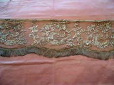 ANTIQUE FRENCH 18 TH-CENTURY ALTAR FRONTAL SILVER METALLIC EMBROIDERY