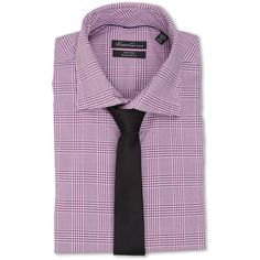 Kenneth Cole New York Regular Fit Non-Iron Plaid (Fuchsia) Men's Long... ($53) ❤ liked on Polyvore featuring men's fashion, men's clothing, men's shirts, men's casual shirts, pink, mens plaid shirts, mens short sleeve button down shirts, mens tie dye shirts, mens pink shirts and mens button down shirts