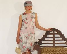 Flapper dress, 20s dress, high tea, bridesmaid dress in white silk chiffon and rose print, Great Gatsby party
