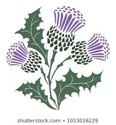 Scottish Thistle isolated on white, vector illustration Scottish Thistle Tattoo, Scottish Tattoos, Celtic Patterns, Celtic Designs, Art Floral, Scottish Symbols, Celtic Art, Linocut Prints, Fabric Painting