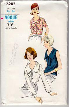 Vintage Sewing Pattern Ladies' Blouses 1960's Vogue by Mrsdepew