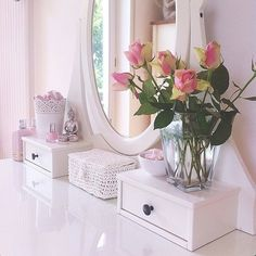 Fresh flowers on the vanity.