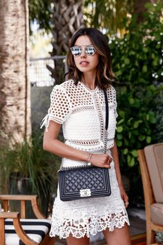 VivaLuxury - Fashion Blog by Annabelle Fleur: MIAMI SWIM WEEK WITH TRESemmé - SELF-PORTRAIT Macrame lace top & guipure lace mini skirt | DIOR So Real 48mm sunglasses | AQUAZZURA Amazon lace up sandals July 22, 2015