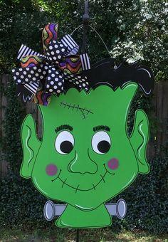 Frankenstein Door Hanger Halloween Door Hanger Whimsical