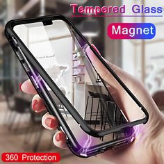 For Iphone 8 Plus Case Magnetic Adsorption Metal Flip Mobile Phone Case For Iphone XS MAX Tempered Glass Toughened Case Iphone 7 Plus, Iphone 8, Iphone Bumper Case, Iphone Cases, Apple Iphone, Flip Mobile Phones, Flip Phones, Mobile Phone Cases, Glass Magnets