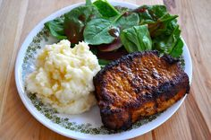 Southern Plate Blackened Pork Chops with Garlic Mozzarella Mashed Potatoes... Looking for a quick and delicious supper idea? This plate right here will surely be a crowd pleaser on Valentine's Day!