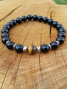 Mens Bracelet, Men Black Onyx Tiger Eye Bracelet, Gemstones Bracelet, Protection bracelet, Gift For Him, Yoga Meditation Wrist Mala