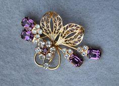Purple Rhinestone Vintage Brooch by HighClassHighway on Etsy