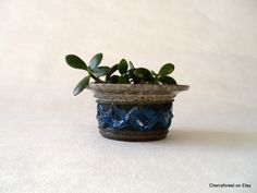 Strehla bowl/ planter/candle holder, blue with  grey marble, relief  structure, vintage East German by Cherryforest on Etsy
