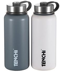 4977d14317 TENCHI Vacuum Insulated Stainless Steel Water Bottle Perfect for Outdoor  Sports Camping Hiking Cycling Wide Mouth
