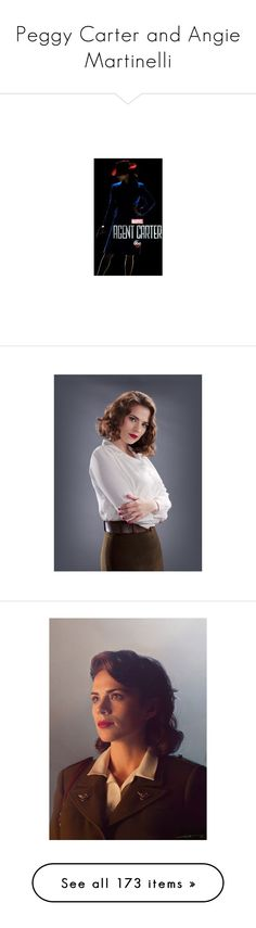 """Peggy Carter and Angie Martinelli"" by music23260721-1 ❤ liked on Polyvore featuring marvel, costumes, hayley atwell, actresses, avengers, peggy carter, captain america costume, avengers halloween costumes, captain america halloween costume and avengers costumes"
