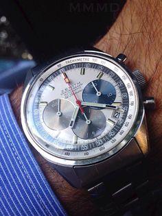 #zenith El Primero C'est en 1962 que sont jetées les bases du mouvement El Primero sur une planche à dessin. L'idée est simple : développer une montre iconique qui sortirait pour le centenaire de la Manufacture en 1965. L'idée est simple oui, mais pas le cahier des charges. Ce sera le premier chronographe à remontage automatique de l'histoire