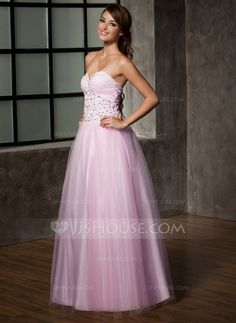 A-Line/Princess Sweetheart Floor-Length Satin Tulle Prom Dress (018005099)