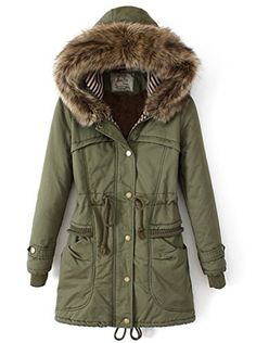 Roseate Womens Parkas Long Coat Winter Jacket with Faux Fur Trim Hood Green M ** Find out more about the great product at the image link.