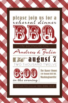 VINTAGE POSTER BBQ Barbeque Engagement/Rehersal Dinner Party Invitation - You Print