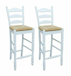 Unique Ladder Back Counter Stools with Rush Seats