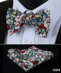 Floral 100%Cotton Jacquard Men Butterfly Self Tie Bow Tie Pocket Square Handkerchief Hanky Suit Set #G2