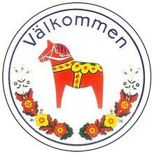 """The Swedish Dala Horse, """"Welcome"""" Would love to have this for my door!"""