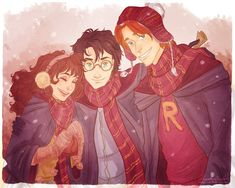 *viria13.  Not sure what her real name is, but this girl does some gorgeous fan art!  I love this rendition of Harry, Hermione and Ron.  Her color choices are lovely and she captures the personality of each character in their eyes.  Check out her modern/hipster princesses too!  Belle and Mulan are SO me!